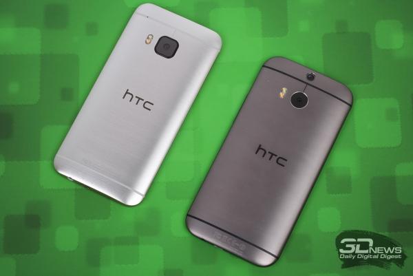 Ладно-ладно, на наших фотографиях новый HTC One M9 слева, у него светлый цвет корпуса