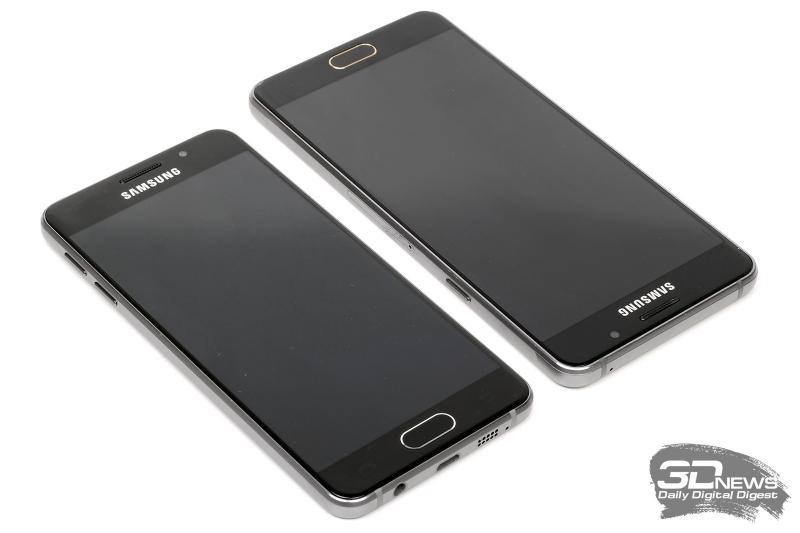 Samsung Galaxy A3 (слева) и A5 (справа) – боковые стороны